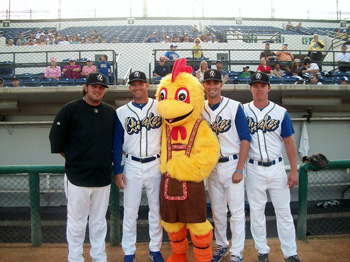 Chicken with Baseball players