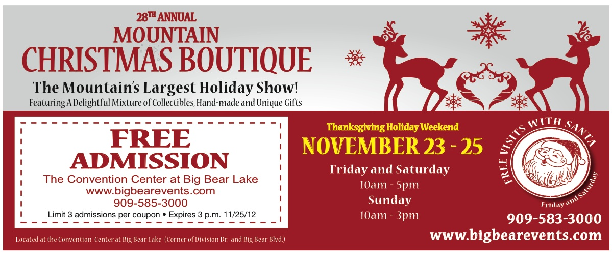 Mountain christmas boutique coupon big bear events home for Mountain house coupon