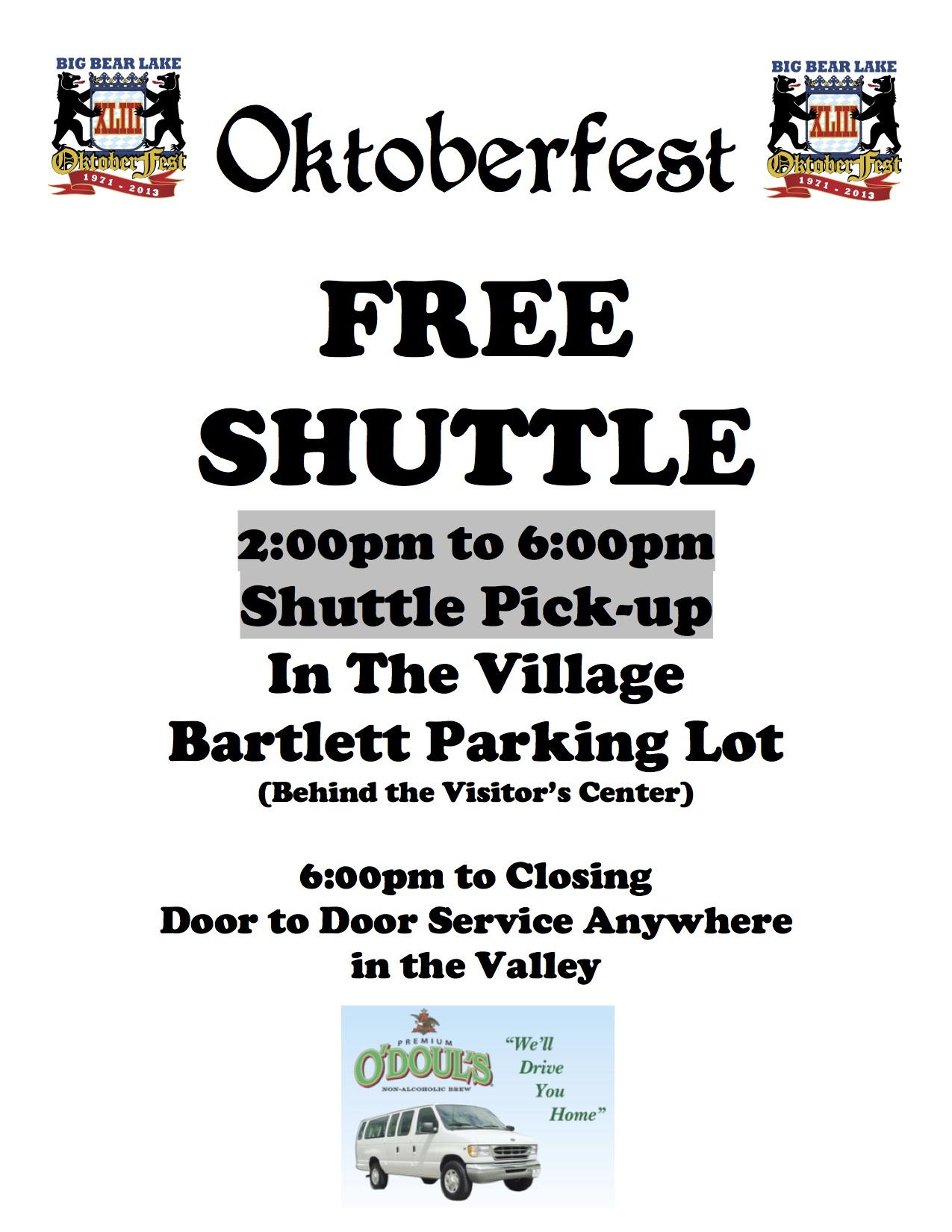 2013 Oktoberfest Free Shuttle Flyer